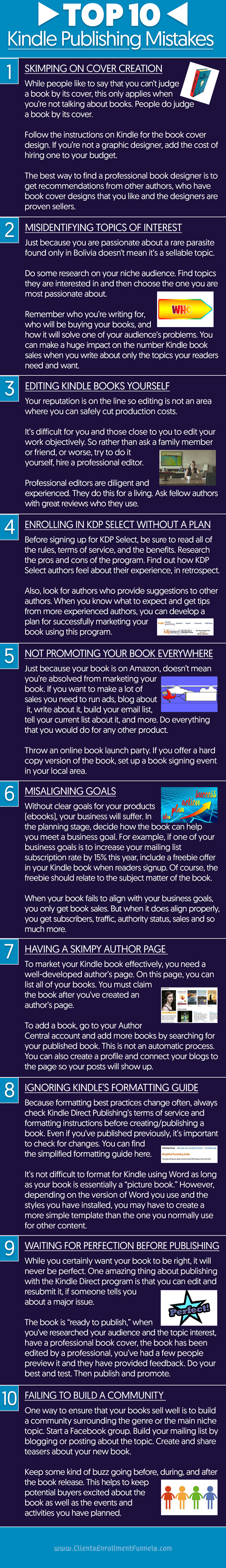 Top 10 Kindle Publishing Mistakes - Infographic
