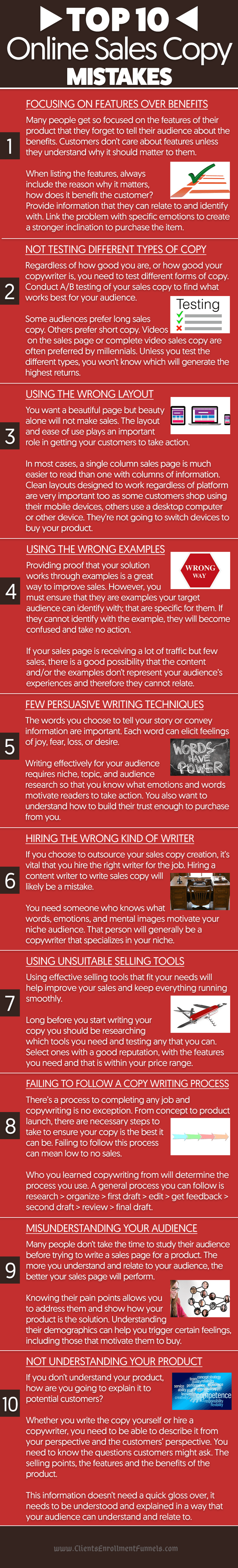 Top 10 Online Sales Copy Mistakes - Infographic