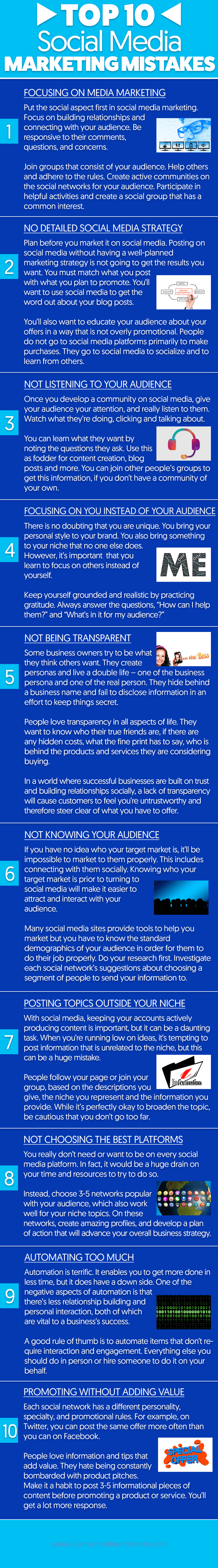 Top 10 Social Media Marketing Mistakes - Infographic